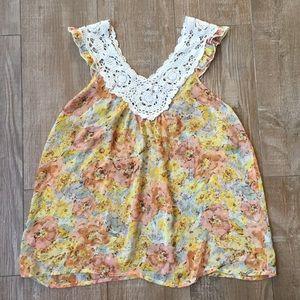 Boho Fashion 🌼 Crochet Floral Baby Doll Blouse